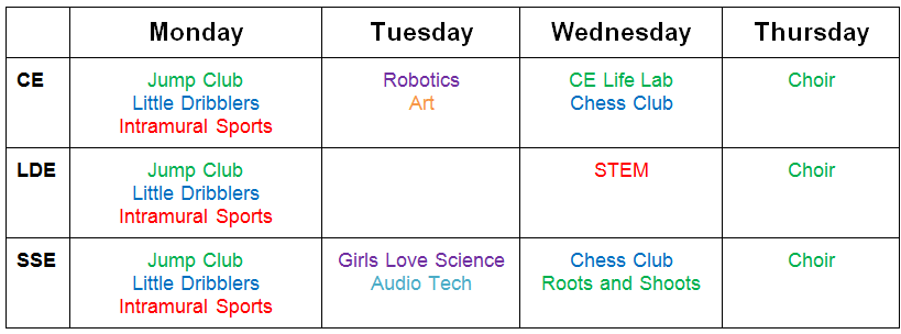 After School Programs schedule