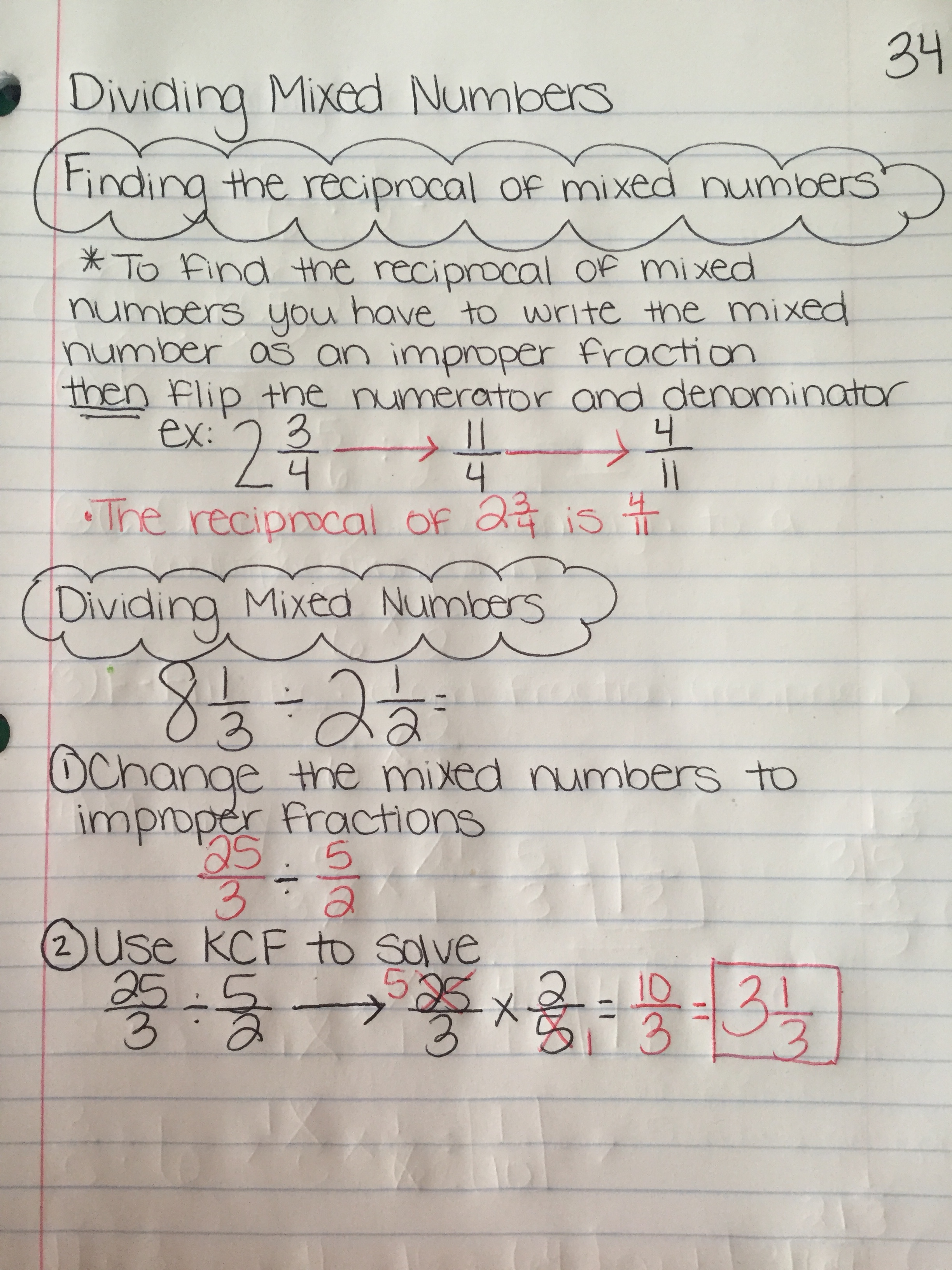 Dividing Fractions Dividing Mixed Numbers