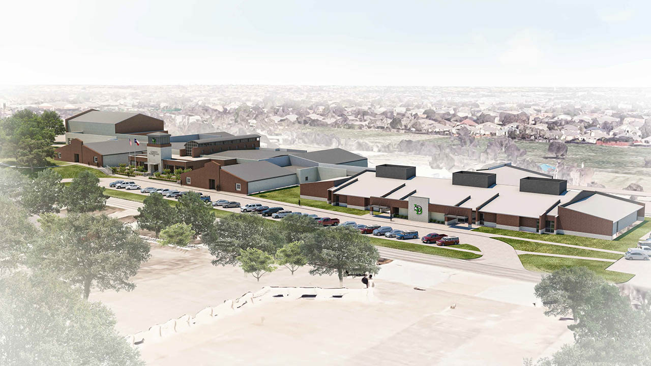 A rendering of an aerial overview of the work at Corinth Elementary School