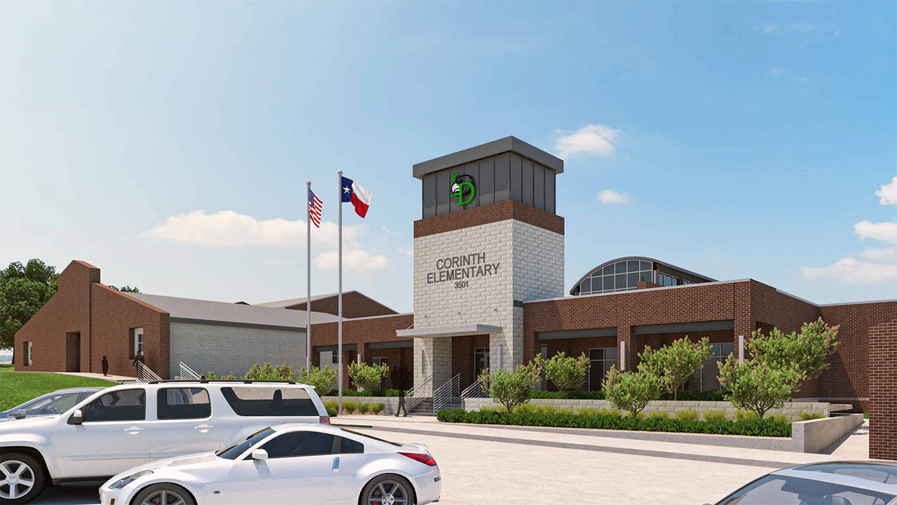 A rendering of the new main entry to Corinth Elementary School