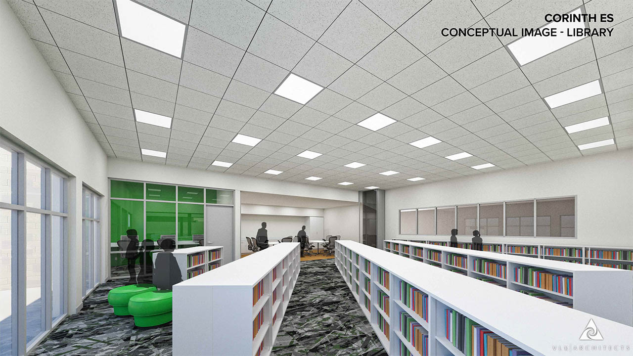 A rendering of the remodeled library at Corinth Elementary School