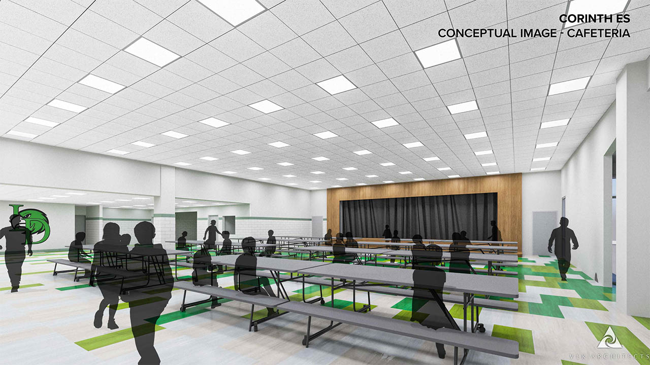 A rendering of the remodeled cafeteria at Corinth Elementary School