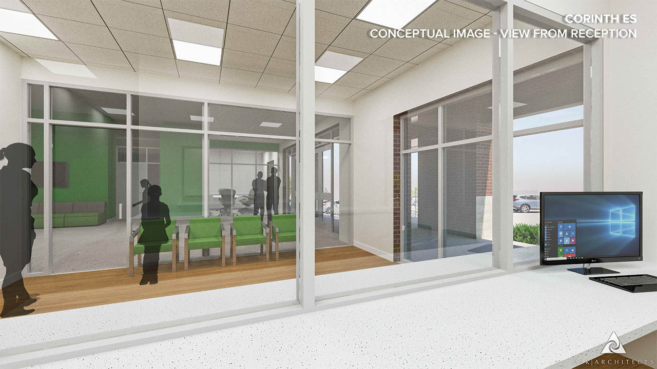A rendering of the new front office at Corinth Elementary School
