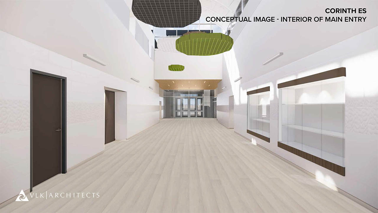 A rendering of the new main hallway at Corinth Elementary School