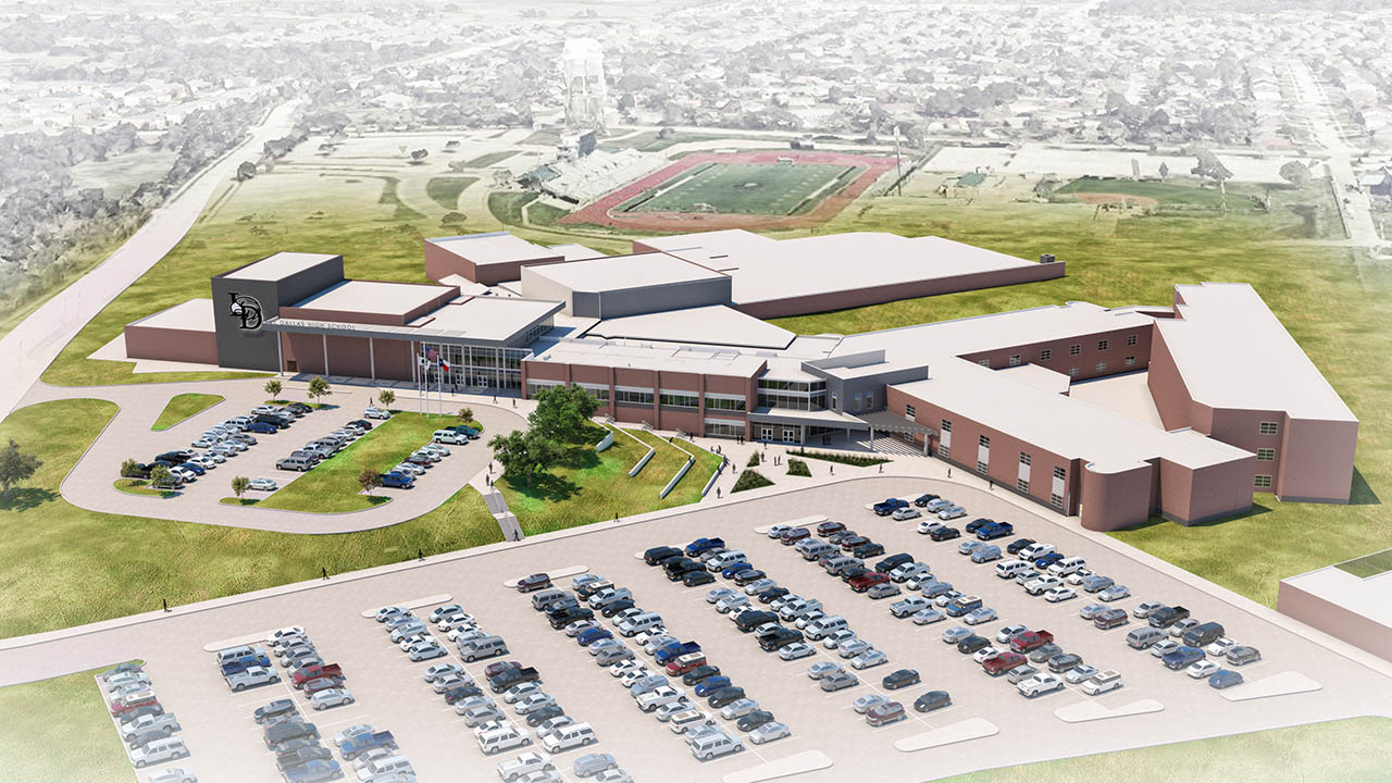 A rendering of an aerial overview of the work at Lake Dallas High School