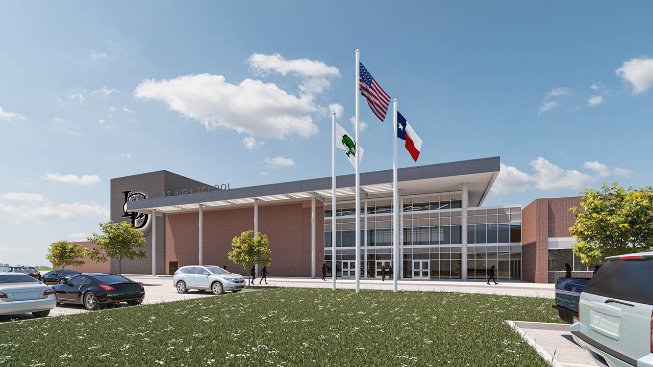 A rendering of the new main entry to Lake Dallas High School