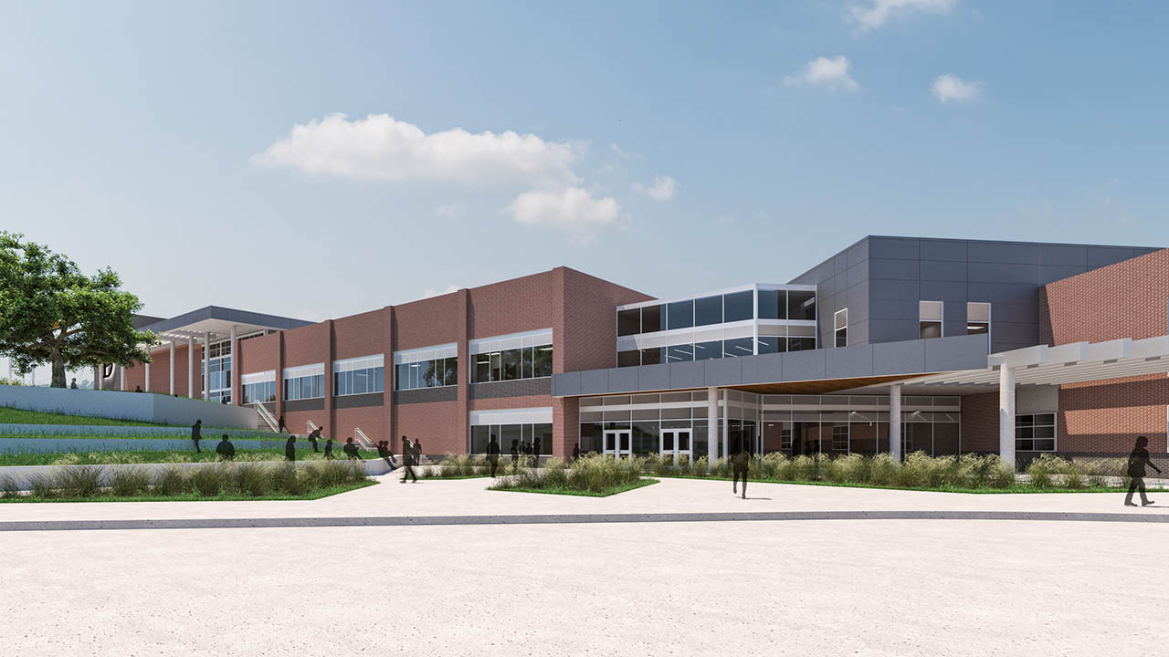A rendering of the new student entry to Lake Dallas High School