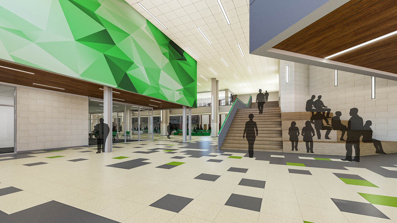 A rendering of the interior of the new student entry to Lake Dallas High School