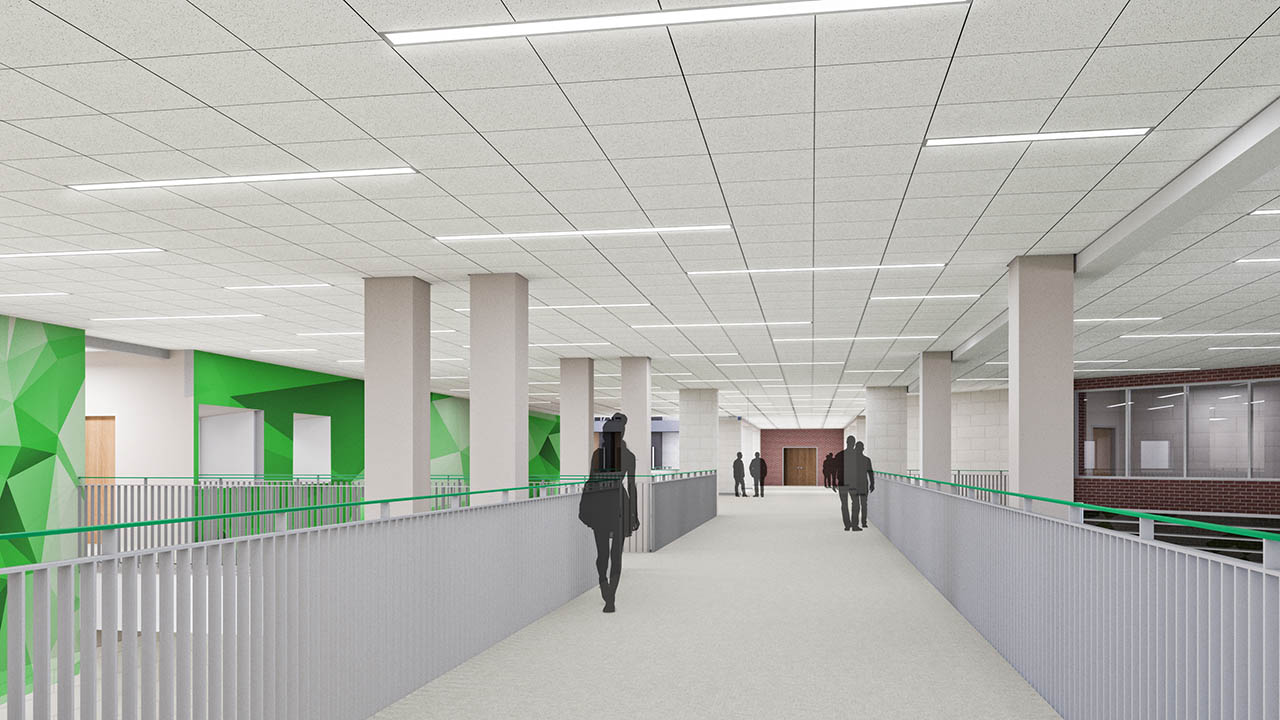 A rendering of the renovated walkway above the cafeteria