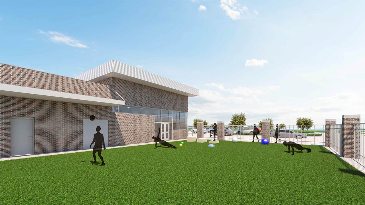 A rendering of the outdoor space to the new athletic additions at Lake Dallas Middle School