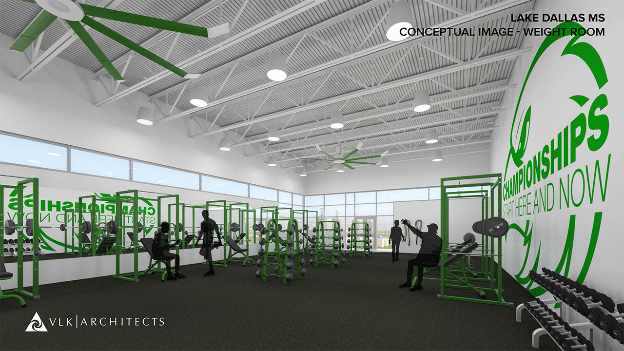 A rendering of a new weight room at Lake Dallas Middle School