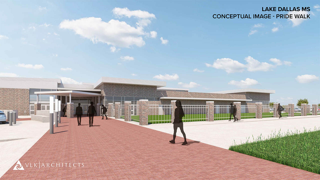 A rendering of the new pride walk leading into the athletic area of LDMS