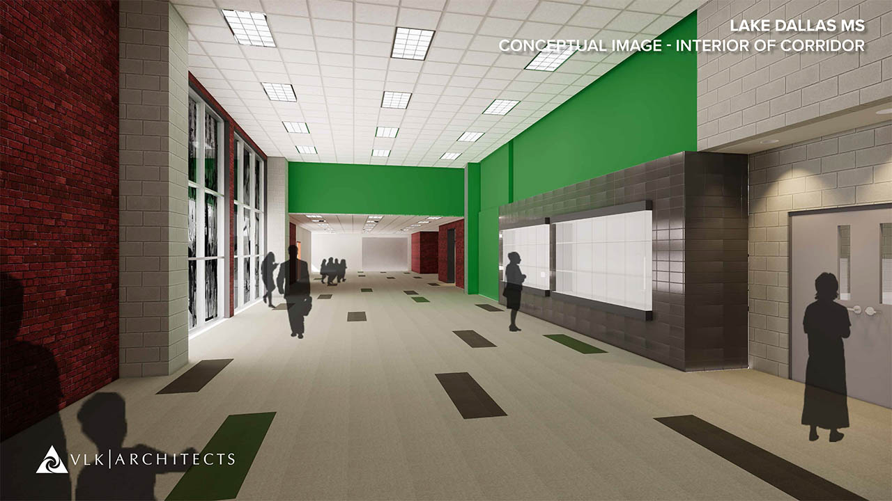 A rendering of the remodeled athletic hallway at Lake Dallas Middle School
