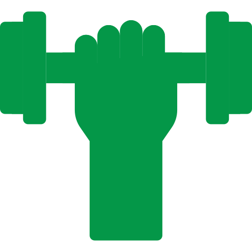 An icon of a dumbbell