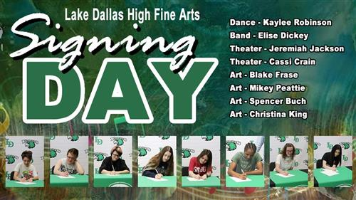 Fine Arts Signing Day