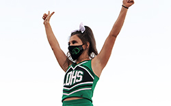 A cheerleader performs