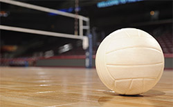 A photo of a volleyball on a court